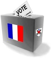 Une urne stylisée pour les élections avec le sceau de la Commune de Waldighoffen et les couleurs de la France
