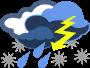 Clipart d'un nuage duquel sortent de la pluie, de la neige et des éclairs.