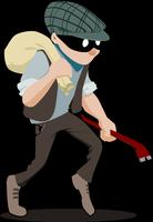 Dessin d'un voleur avec un sac sur le dos et un pied de biche dans la main.