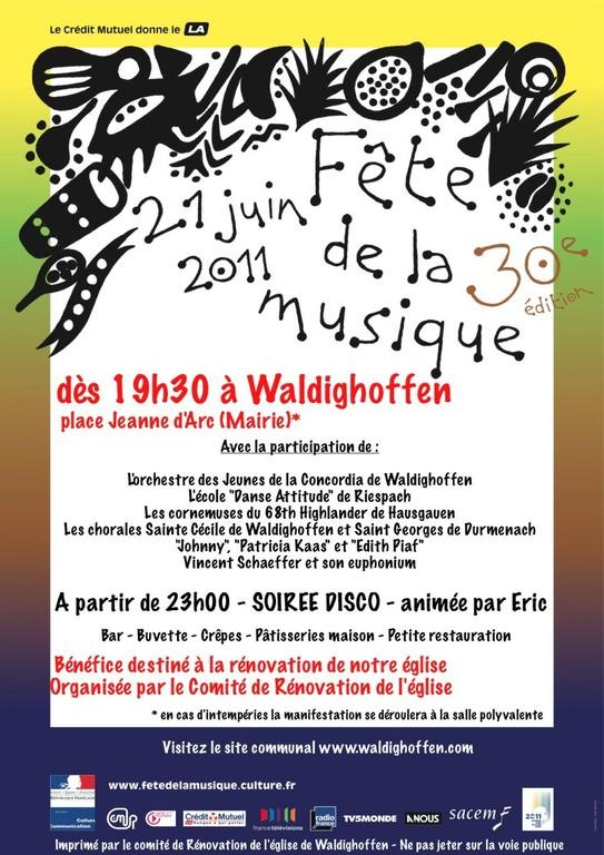 Affiche programme Fête de la musique 2011