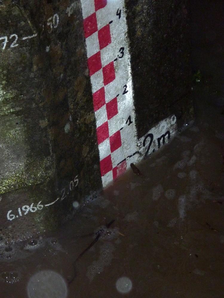 Hautes-eaux dans l'Ill le 5 déc 2010 à 17 h visibles sur l'échelle des crues