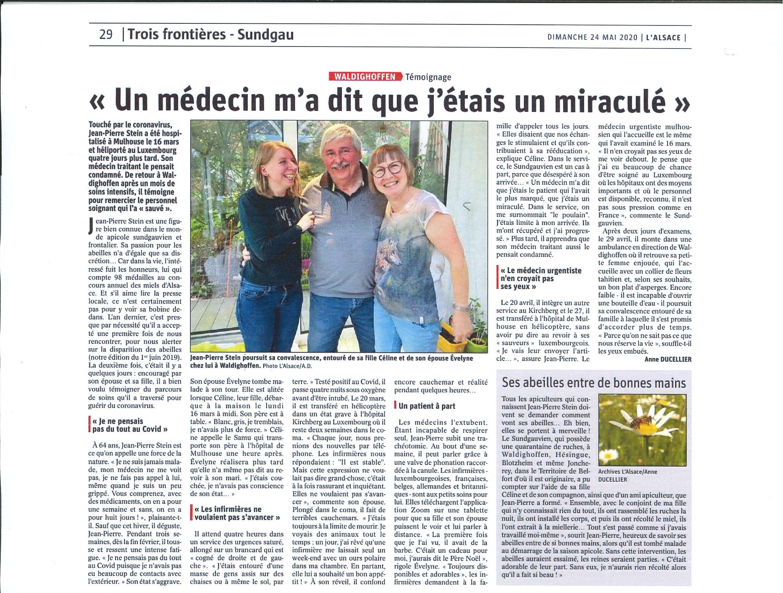 Article Alsace du 24.05.2020 - Stein Jean-Pierre