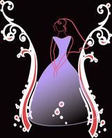 Dessin abstrait d'une mariée violette sur un fond noir.