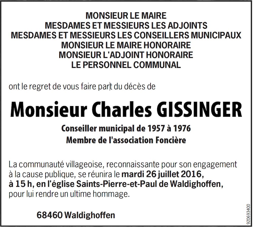 annonce mortuaire décès Charles Gissinger