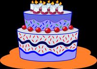 Dessin d'un gâteau d'anniversaire couleur violette surmonté de bougies.