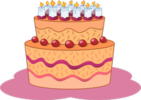 Dessin d'un gâteau d'anniversaire couleur orange surmonté de bougies.