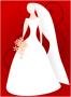 Dessin abstrait d'une mariée blanche sur un fond rouge.