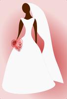 Dessin abstrait d'une mariée noire sur un fond rouge.