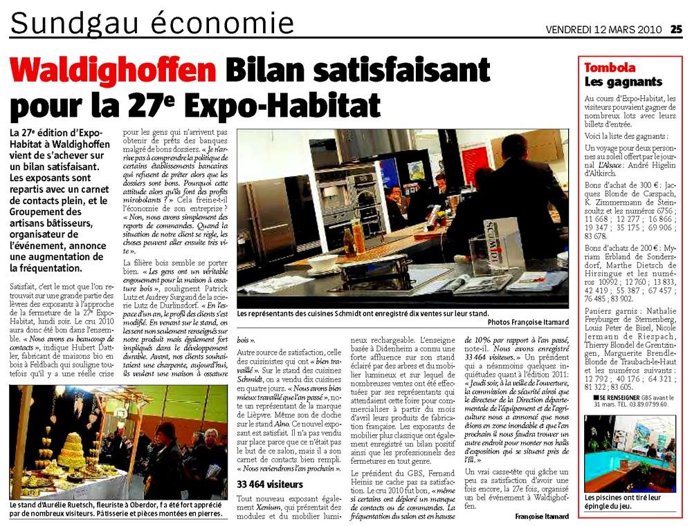 """Article dans """"l'Alsace"""" sur l'Expo-Habitat"""