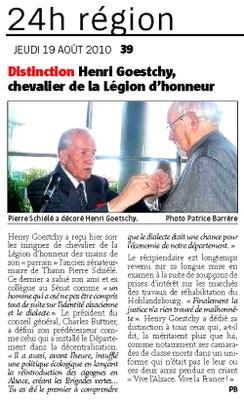 Article de l'Alsace du 19 08 2010 concernant la remise de la Légion d'Honneur de Henri Goetschy