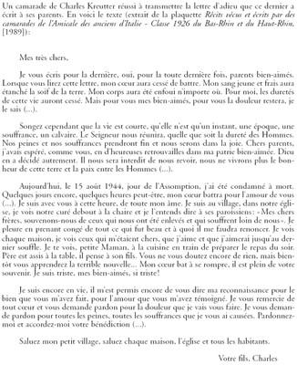Lettre Charles KREUTTER