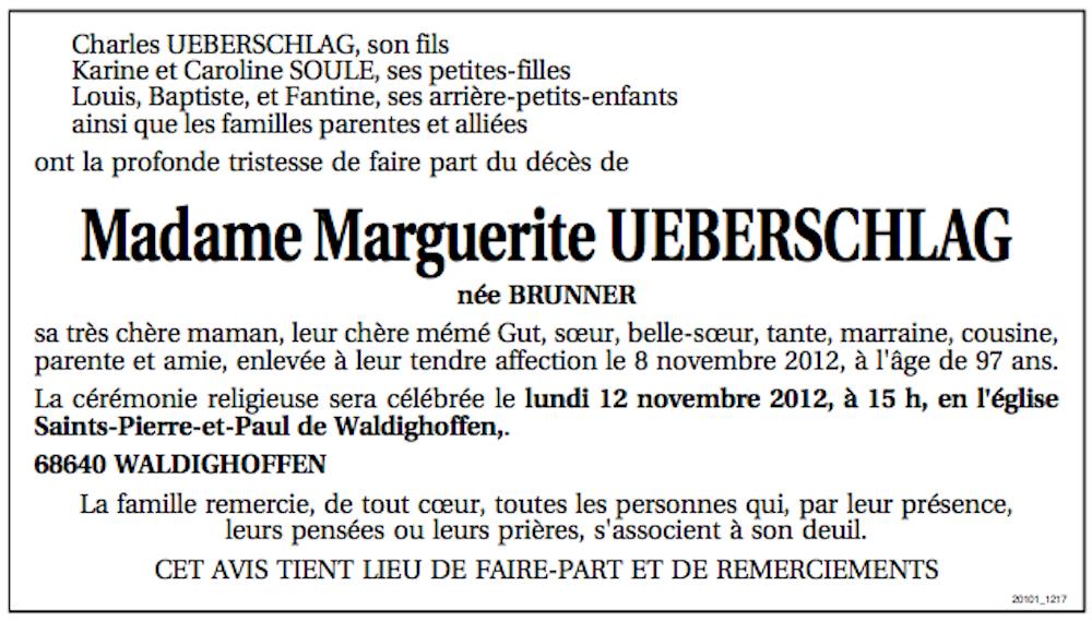 Avis de décès UEBERSCHLAG Marguerite