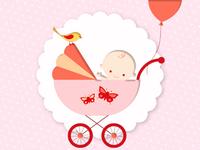 Image d'un bébé dans une poussette - fille.