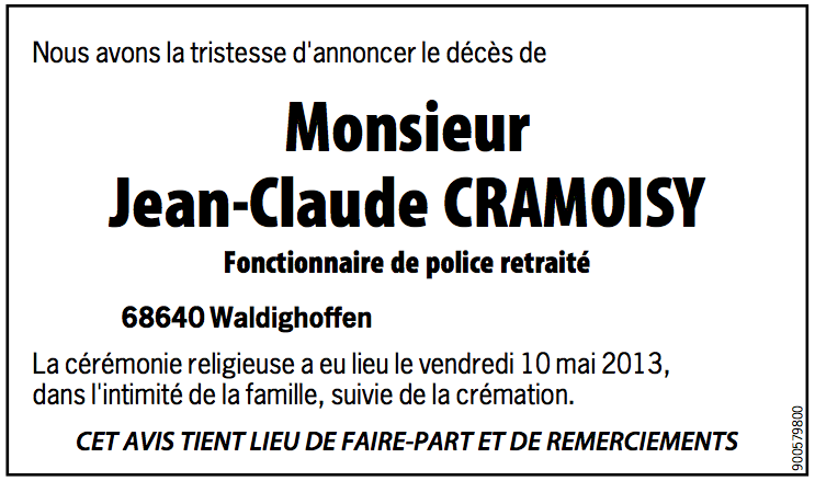 Avis de décès Cramoisy Jean-Claude