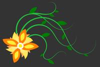 Dessin d'une fleur jaune avec tige sur fond noir.