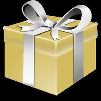 Paquet cadeau couleur or avec un ruban argenté.