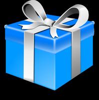 Paquet cadeau bleu avec un ruban argenté.