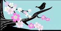 Dessin d'un oiseau sur une branche en fleurs.