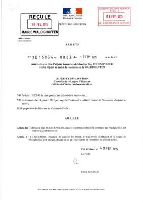 Nomination de Monsieur Guy EGGENSPIELER