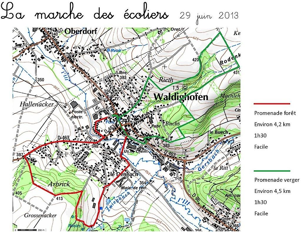 Carte sentiers pédagogiques nord et sud à Waldighoffen La marche des écoliers