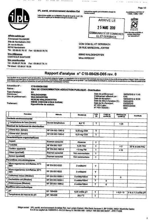Rapport d'analyse d'eau potable n°C10-08426-D05 du 18/03/2010 - 1