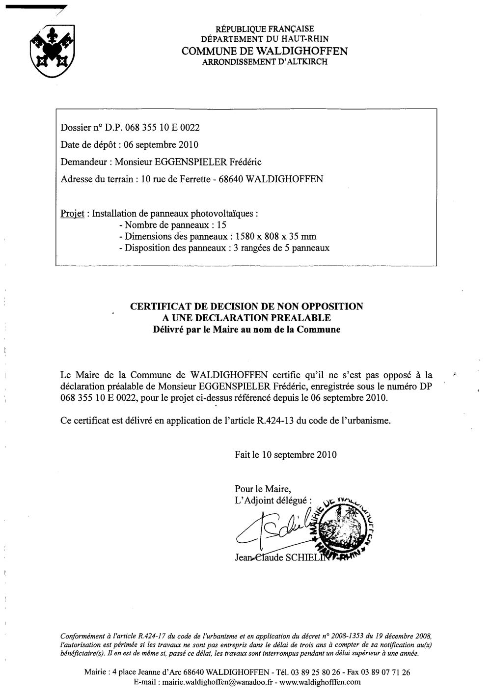 Non opposition a une d claration pr alable dp 068 355 10 for Declaration prealable 40m2