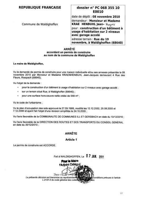 Arrêté accordant le permis de construire n° 10E0010 - M. et Mme KRAEHENBUHL Jean-Hugues