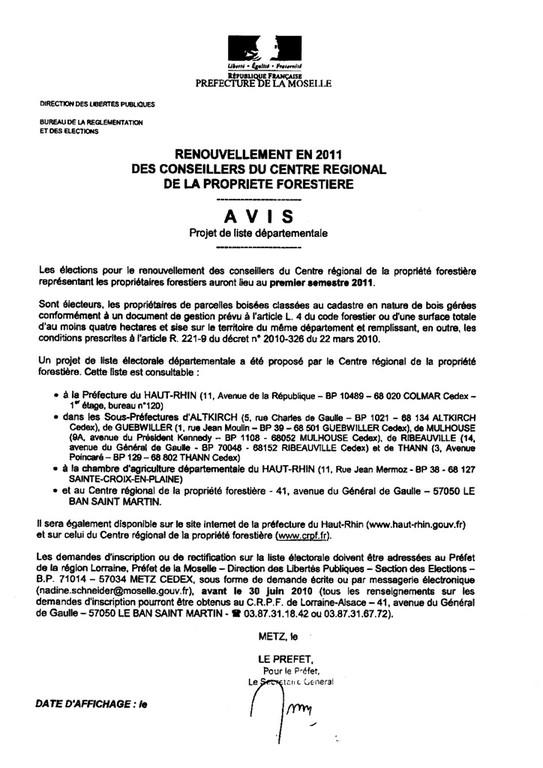 Avis de projet de liste départementale pour le renouvellement des conseillers du centre régional de la propriété forestière