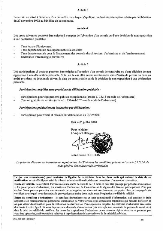 Certificat d 39 urbanisme cu06835510e0007 me meurlet kohler for Demande de prorogation de permis de construire