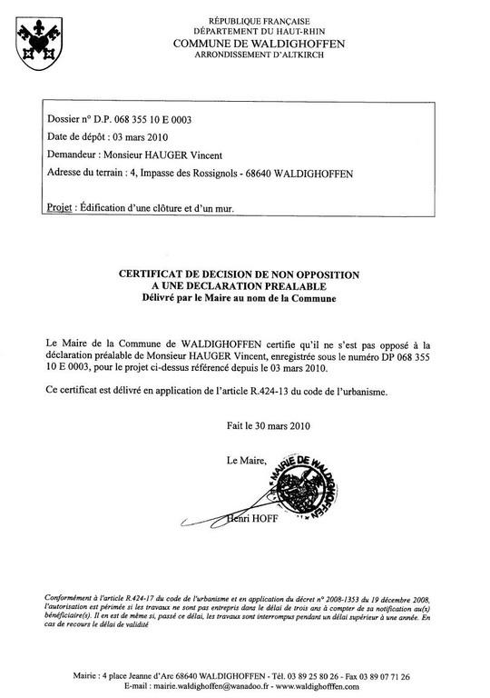 Non opposition DP10E0003 HAUGER Vincent