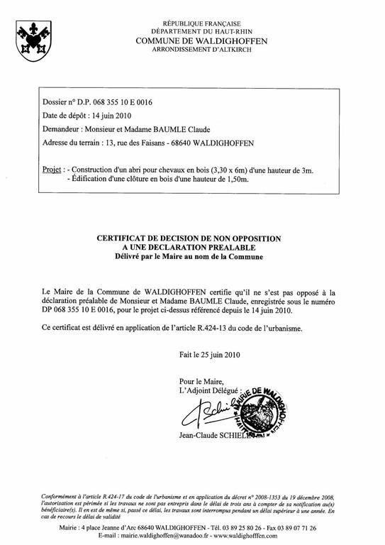 Non-opposition à une déclaration préalable - DP06835510E0016 - M. et Mme BAUMLE Claude