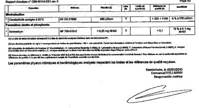 Rapport d'analyse d'eau n°C09-43154-D01 du 24/12/2009-2