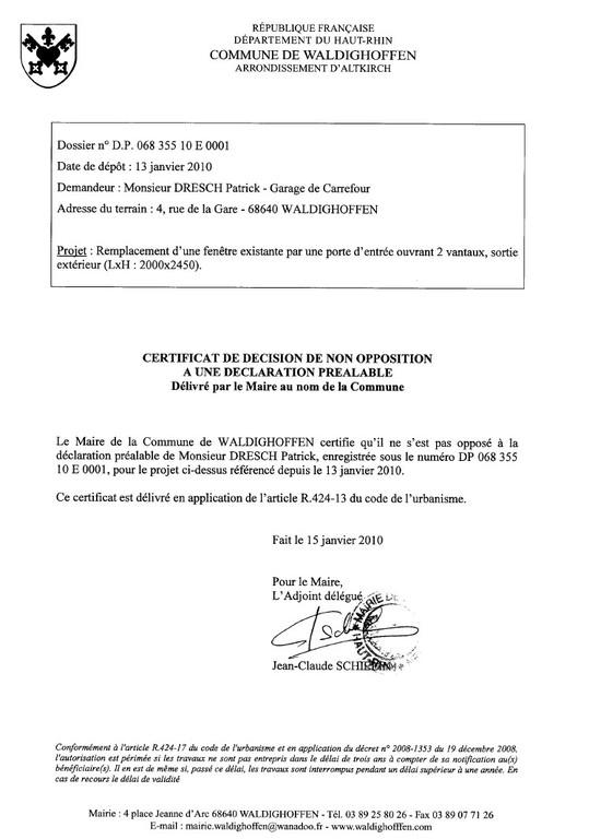 certificat de d cision de non opposition une d claration