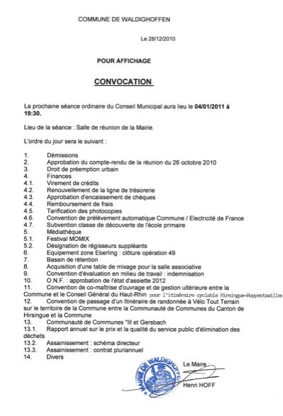 Convocation Conseil Municipal janvier 2011