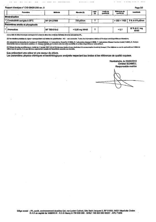 Rapport d'analyse d'eau potable n°C10-08426-D05 du 18/03/2010 - 2