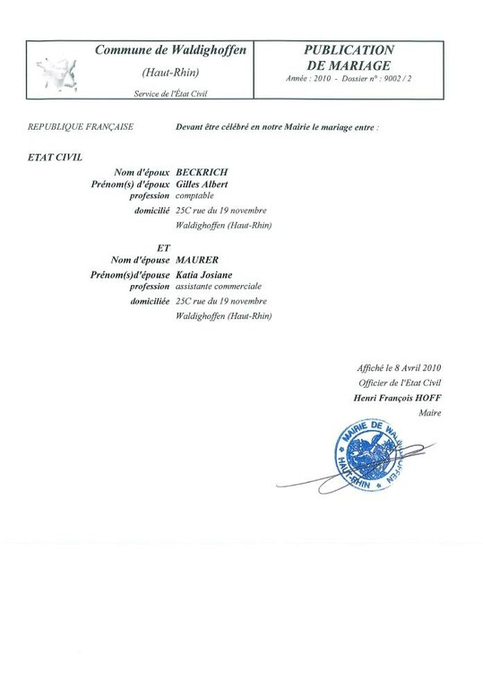 Publication de mariage BECKRICH-MAURER
