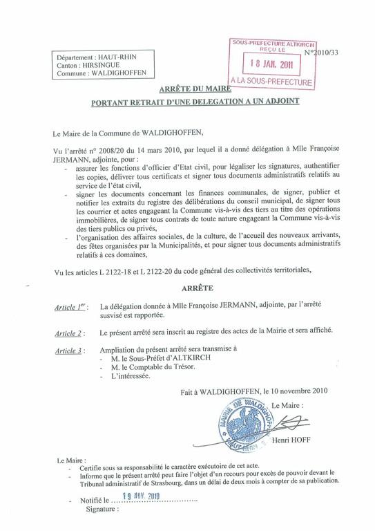 Arrêté du Maire portant retrait d'une délégation a un adjoint