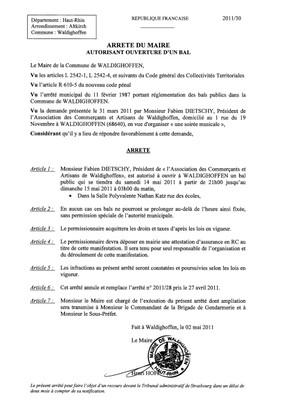 Arrêté du Maire n°2011/30 autorisant l'ouverture d'un bal