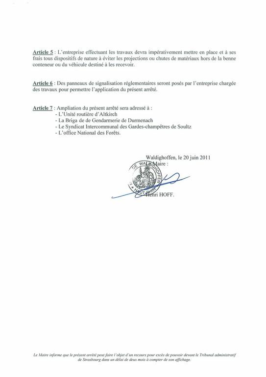 Arrêté du Maire n°2011/43 portant règlement de la circulation