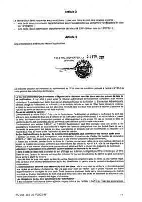 Arrêté accordant le permis de construire modificatif n°03F0002-M1 du G.B.S.