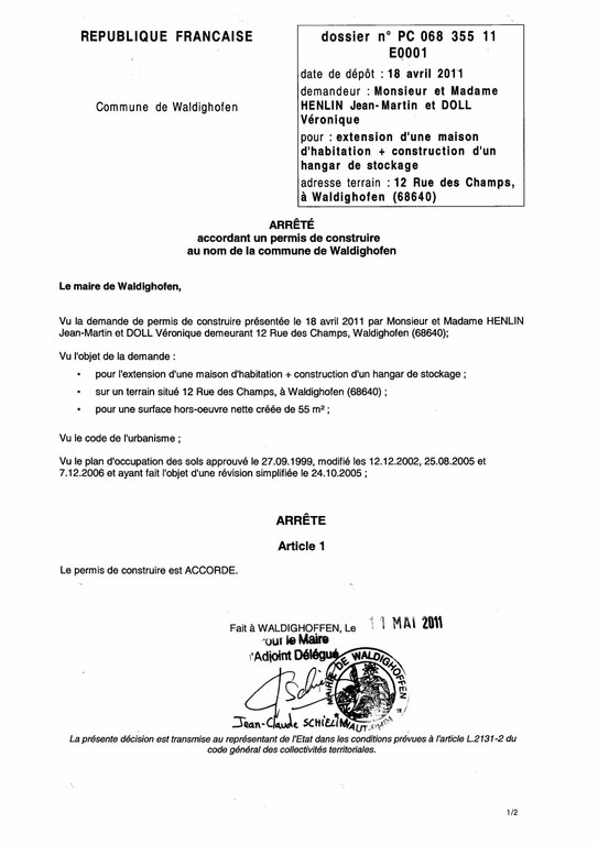 Arr t accordant le permis de construire n 11e0001 m for Modification d un permis de construire