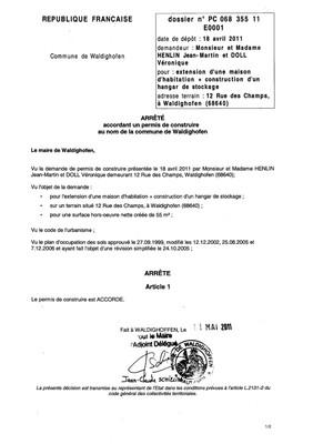 Arrêté accordant le permis de construire n°11E0001 - M. HENLIN et Mme DOLL