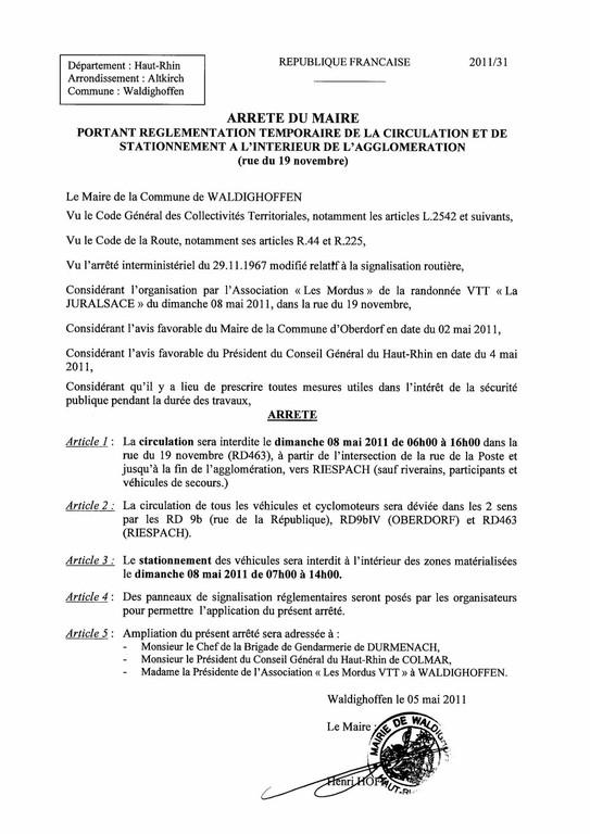 Arrêté du Maire portant règlementation de la circulation et de stationnement