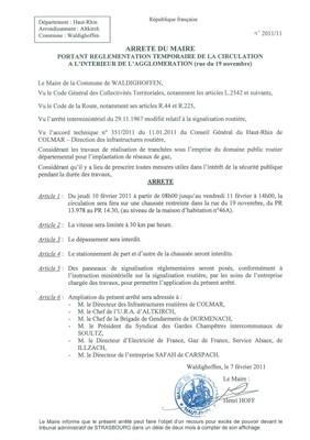 Arrêté du Maire portant règlementation de la circulation rue du 19 Novembre
