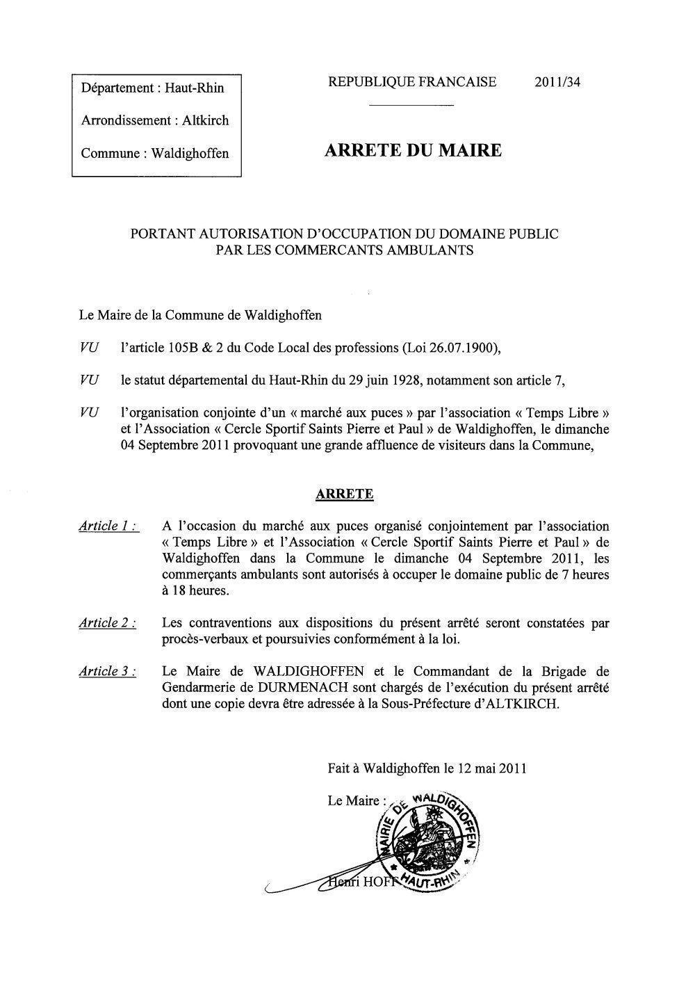 Arrêté du Maire n°2011/34 - Occupation  des commercants ambulants