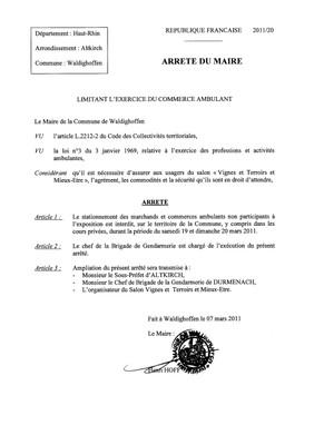 Arrêté n°2011/20 limitant l'exercice du commerce ambulant