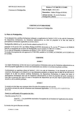 Certificat d'urbanisme n°11E0001 - Me KOENIG
