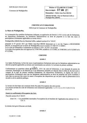 Certificat d'urbanisme n°11E0002 - Me BROM