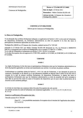 Certificat d'urbanisme n°11E0005 - Me KLEIN-AB