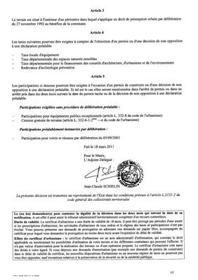 Certificat d'urbanisme n°11E0006 - Mme PEREZ